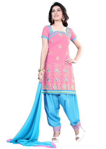 Pink Color Chanderi Unstitched Salwar - VSELINA11