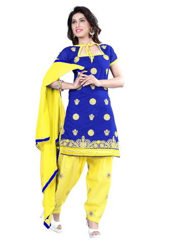 Blue Color Chanderi Unstitched Salwar - VSELINA12