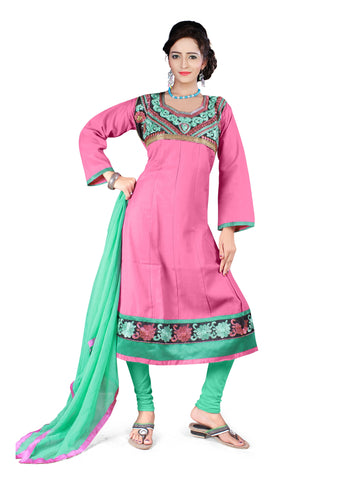 Pink Color Semi Cotton Unstitched Salwar - VSFSNLK03
