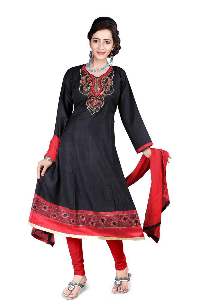 Buy Black Color Semi Cotton Unstitched Salwar