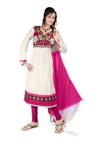 White Color Semi Cotton Unstitched Salwar - VSFSNLK06