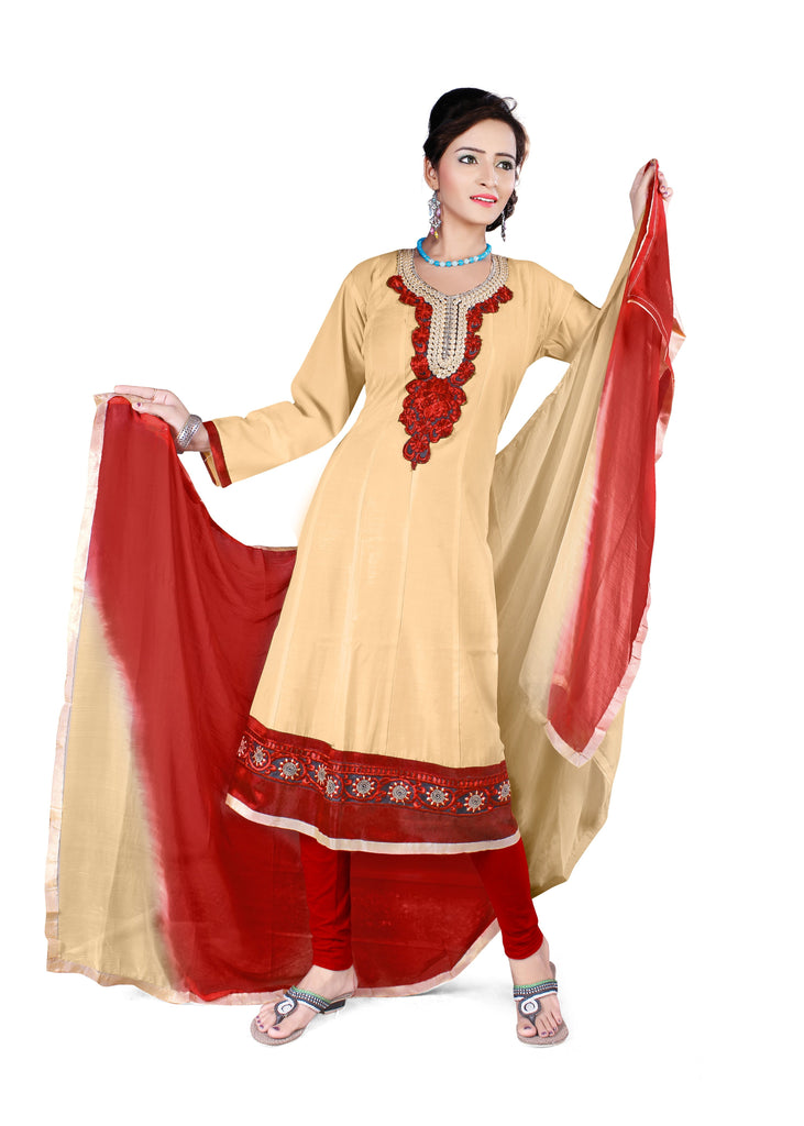 Buy Chiku Color Semi Cotton Unstitched Salwar