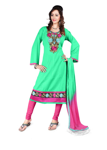 Sea Green Color Semi Cotton Unstitched Salwar - VSFSNLK10