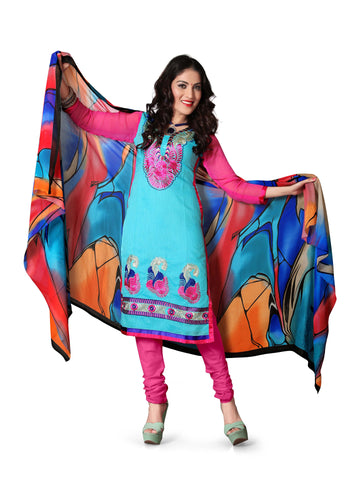 Turquise Color Chanderi Un Stitched Salwar - VSFSTL01