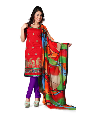 Red Color Chanderi Un Stitched Salwar - VSFSTL02