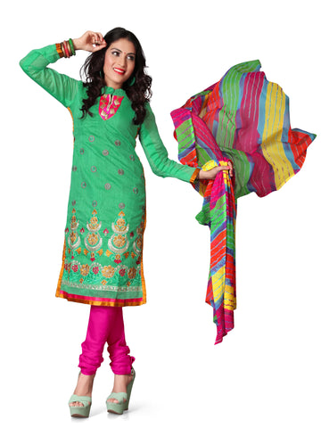 Sea Green Color Chanderi Un Stitched Salwar - VSFSTL06