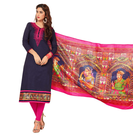 Navy Blue Color Slub Cotton Un Stitched Salwar - VSGGBBSTR1106