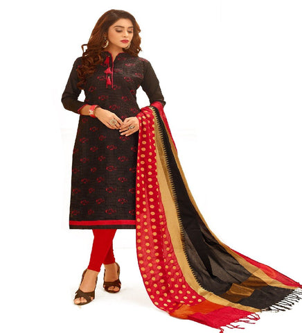 Black Color Glace Cotton Unstitched Salwar - VSGGCHNR1105