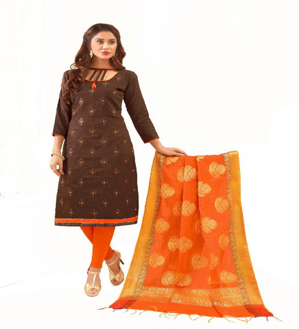 Brown Color Glace Cotton Unstitched Salwar - VSGGCHNR1106
