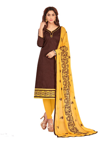 Brown Color Slub Cotton Unstitched Salwar - VSGGFLNC1106