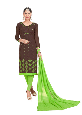 Brown Color Chanderi Un Stitched Salwar - VSGGITCT1102