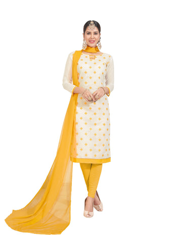 White Color Chanderi Un Stitched Salwar - VSGGITCT1103