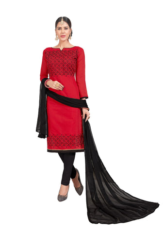 Red Color Chanderi Un Stitched Salwar - VSGGITCT1104