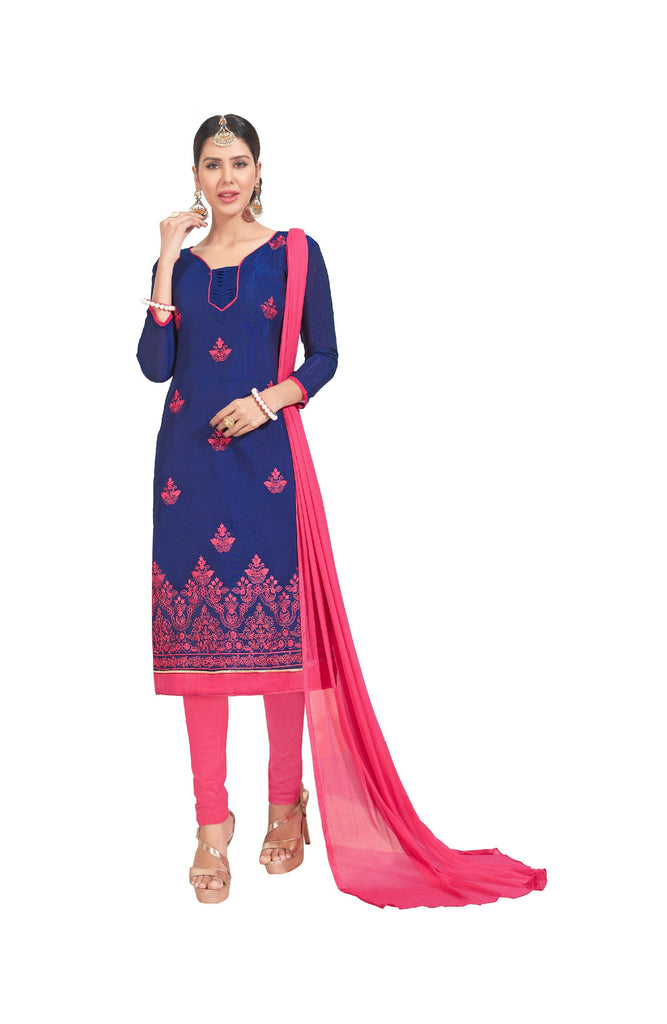 Buy Blue Color Chanderi Un Stitched Salwar