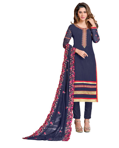Navy Blue  Color Georgette Un Stitched Salwar - VSGGKMNK1104