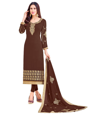 Brown Color Georgette Unstitched Salwar - VSGGKMNK1105
