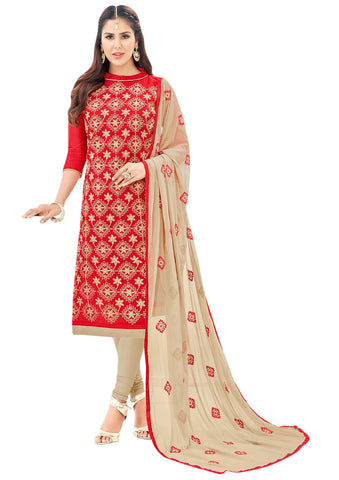 Red Color Chanderi Un Stitched Salwar - VSGGSMR102