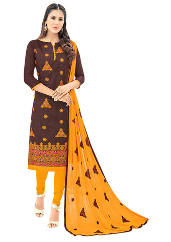 Brown Color Chanderi Un Stitched Salwar - VSGGSMR103