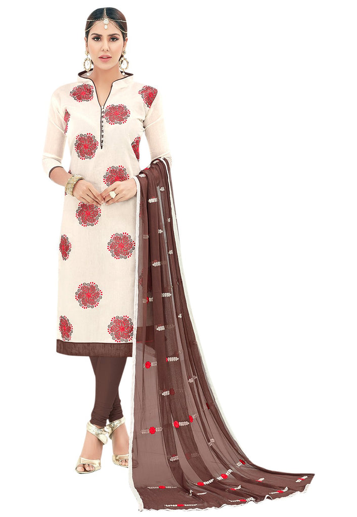 Buy Off White Color Chanderi Un Stitched Salwar