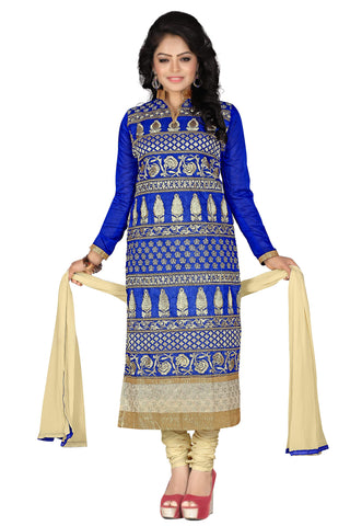 Blue Color Chanderi UnStitched Salwar - VSGLRA03