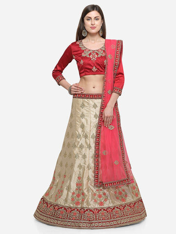 Green Color Silk Satin Women's Semi Stitched Lehenga Choli - VSISBA34202