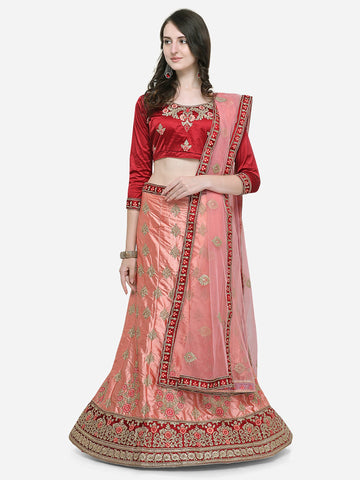 Peach Color Silk Satin Women's Semi Stitched Lehenga Choli - VSISBA34204