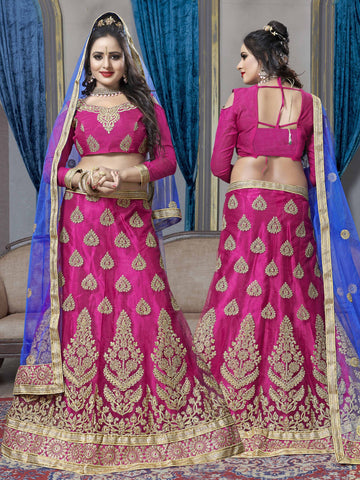 Pink Color Net Semi Stitched Lehenga - VSKRA60001