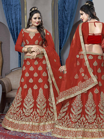 Red Color Net Semi Stitched Lehenga - VSKRA60003