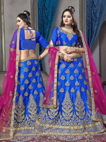 Blue Color Net Semi Stitched Lehenga - VSKRA60004