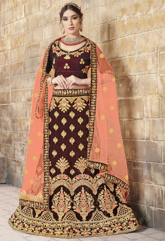 Maroon Color Velvet Women's Semi-Stitched Lehenga Choli - VSMBA36504