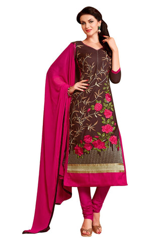 Brown  Color Glass Cotton Unstitched Salwar - VSMDEXTK1401