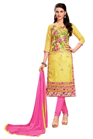 Yellow  Color Glass Cotton Unstitched Salwar - VSMDEXTK1404