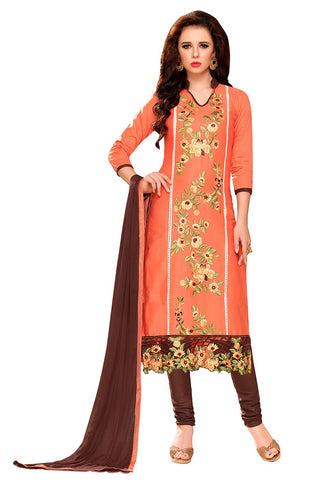 Orange Brown Color Glass Cotton Unstitched Salwar - VSMDEXTK1411