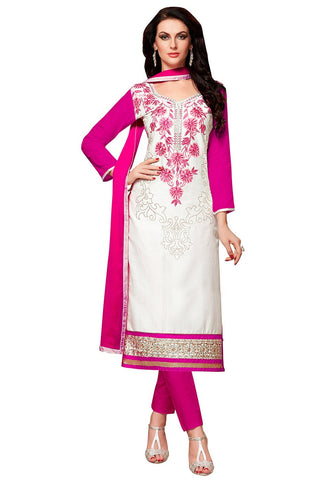 Pink And White Color Glass Cotton Unstitched Salwar - VSMDEXTK1412
