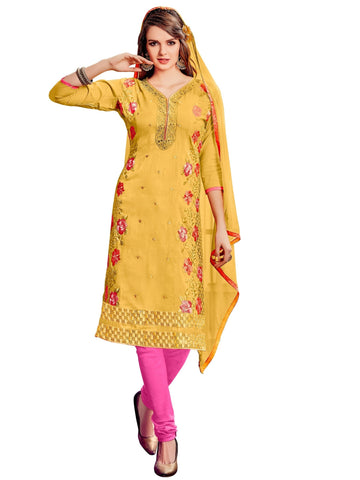 Yellow Color Cotton UnStitched Salwar - VSMDFLNT3001