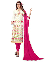 Buy White Color Cotton UnStitched Salwar