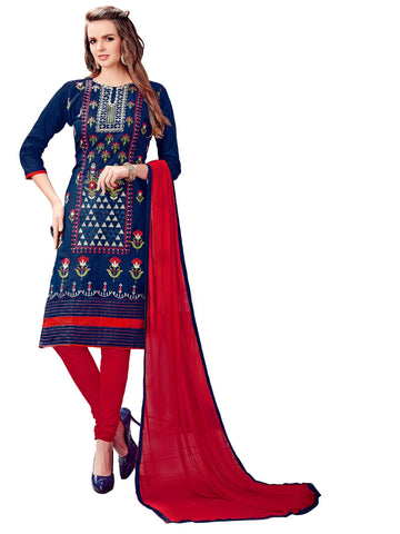 Navy Blue Color Cotton UnStitched Salwar - VSMDLOTS1610