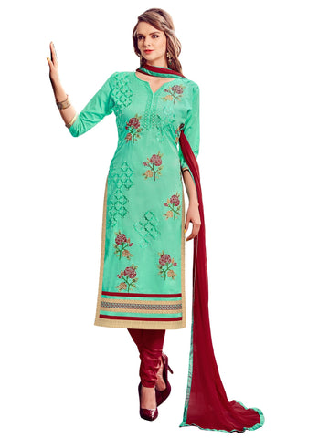 See Green Color Cotton UnStitched Salwar - VSMDLOTS1612