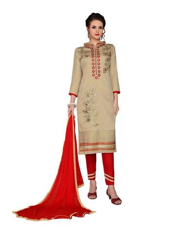 Beige Color Cambric UnStitched Salwar - VSMDMSTNI5001