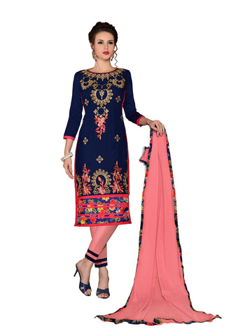 Navy Blue Color Cambric UnStitched Salwar - VSMDMSTNI5003