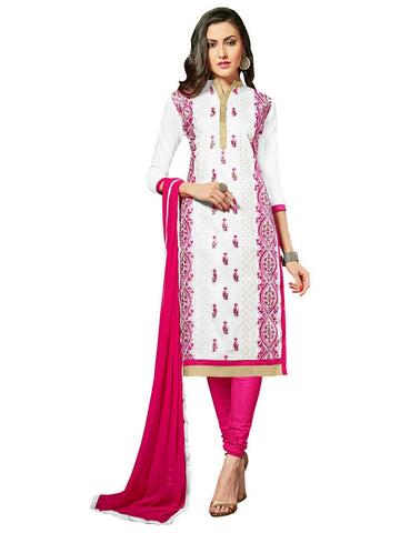 White Color Glaze Cotton Un Stitched Salwar - VSMDNAJ5101