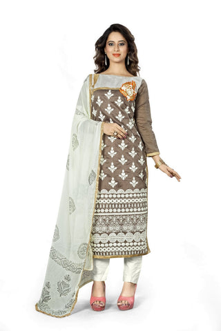 Brown Color Chanderi Un Stitched Salwar - VSMDNYR4003