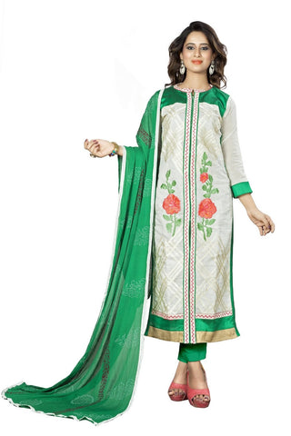 White Color Chanderi Un Stitched Salwar - VSMDNYR4007
