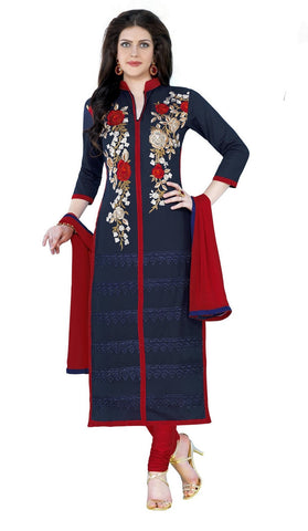 Navy Blue Color Glaze Cotton Un Stitched Salwar - VSMDQUEEN1356