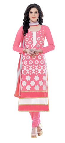 Light Pink and White Color Glaze Cotton Un Stitched Salwar - VSMDQUEEN1358