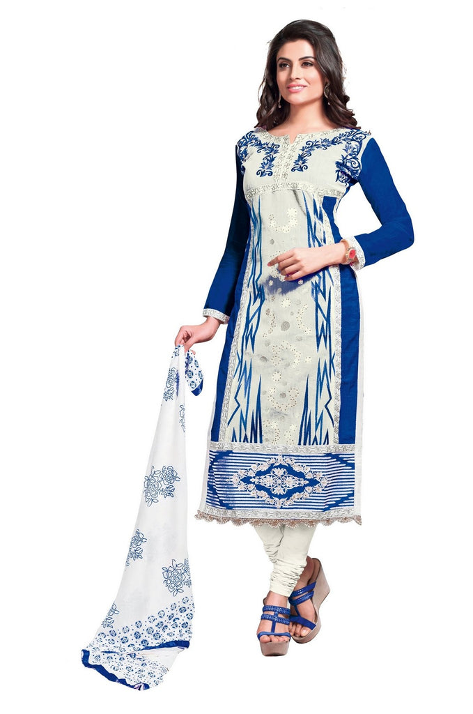 Buy Off White and Dark Blue Color Glaze Cotton Un Stitched Salwar