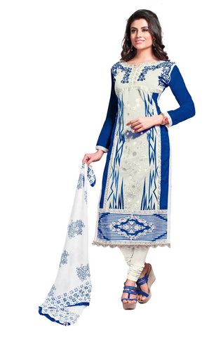 Off White and Dark Blue Color Glaze Cotton Un Stitched Salwar - VSMDQUEEN1362