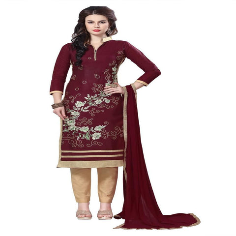 Brown Color Glaze Cotton Un Stitched Salwar - VSMDQUN1505