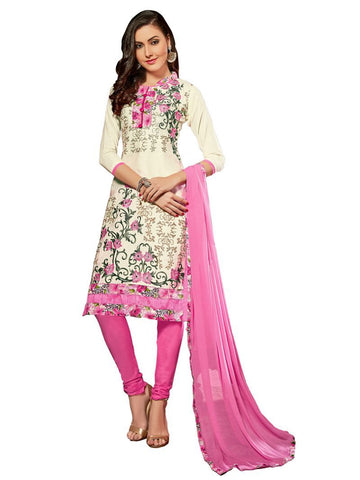White Color Glaze Cotton Un Stitched Salwar - VSMDQUN2102