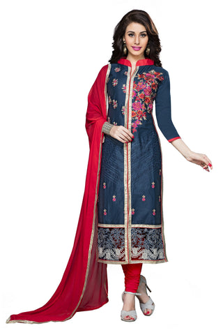 Blue Color Cotton Un Stitched Salwar - VSMDSNHA1252